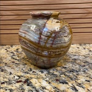 "Southwest stone vase beautiful colors GUC 4"" tall"